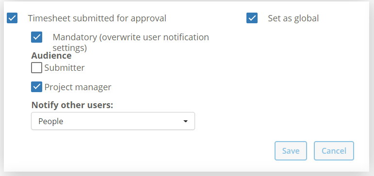 Notification Timesheet submitted for approval