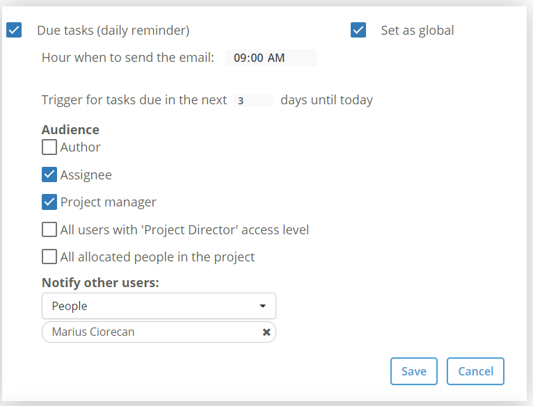 Reminder due tasks