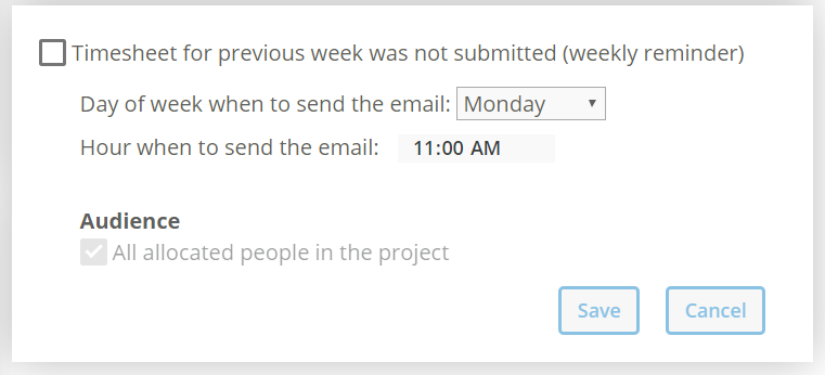 Reminder for submitting the timesheet