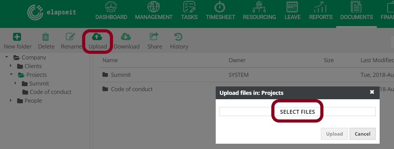 Uploading any file in Documents