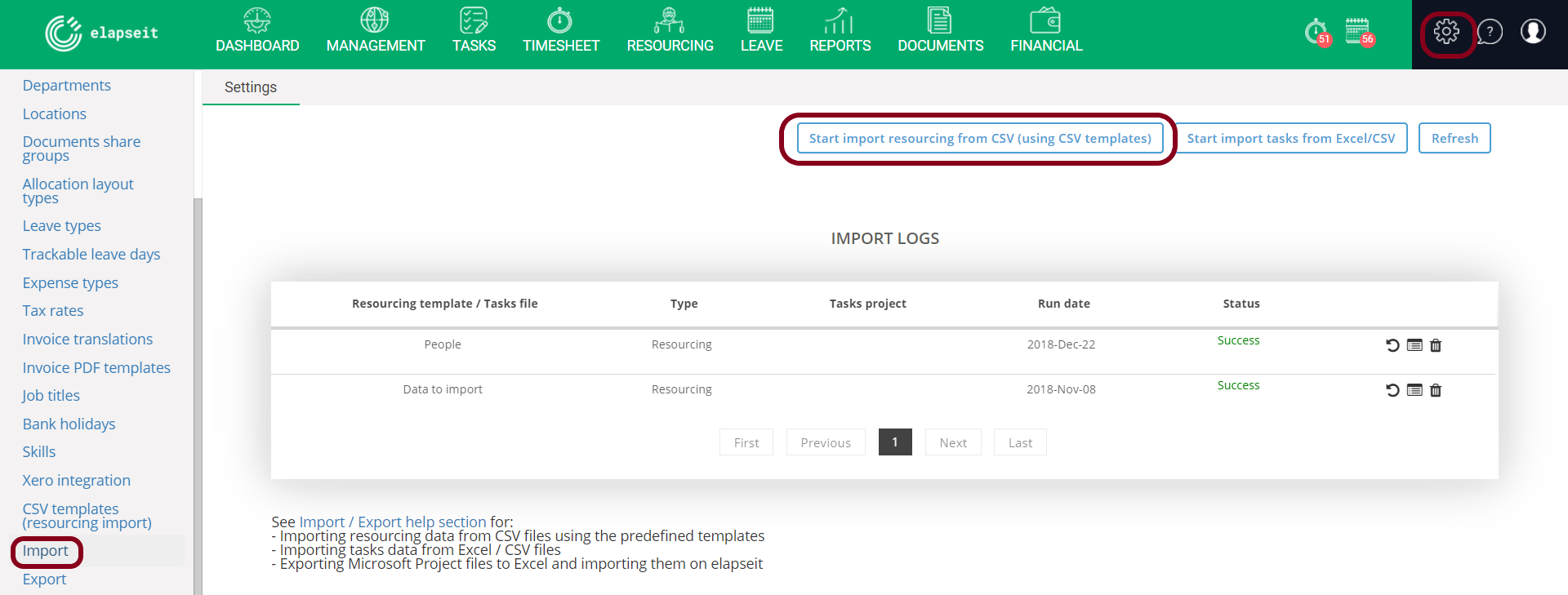 Import data in your account