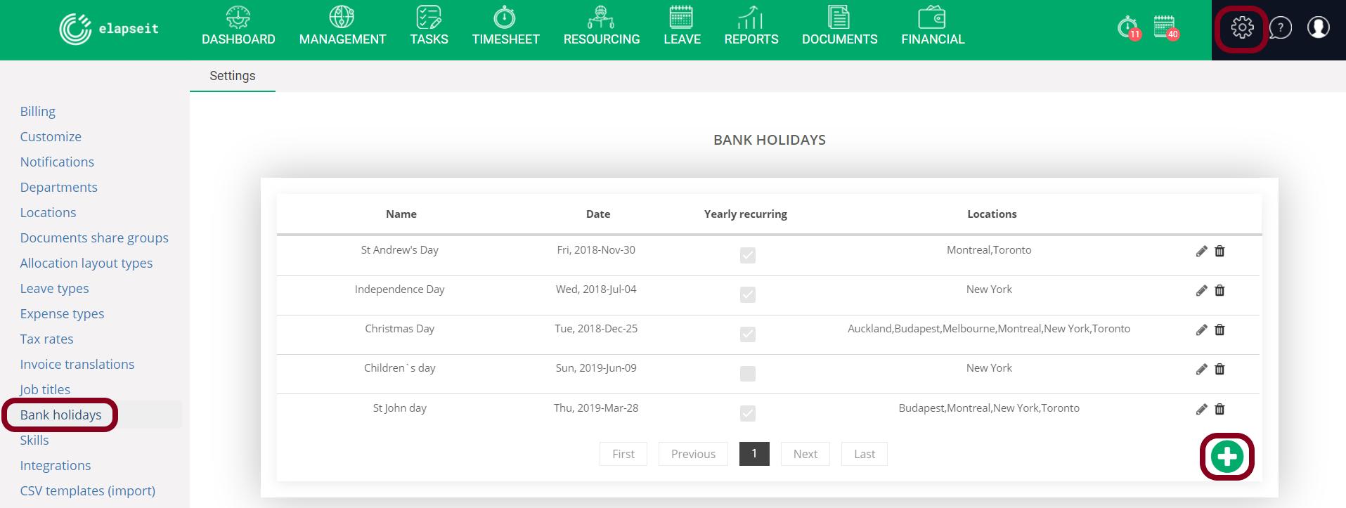 Bank holidays set per location