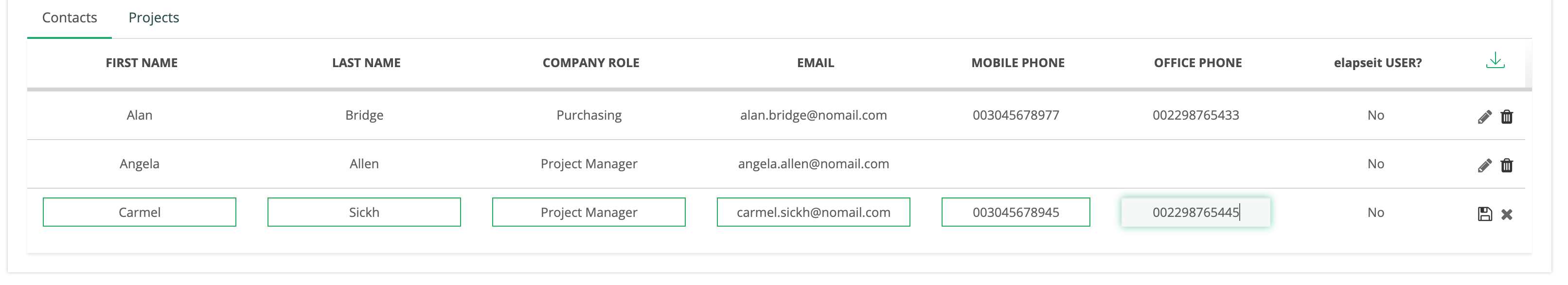 Creat a list of contacts in Client profile