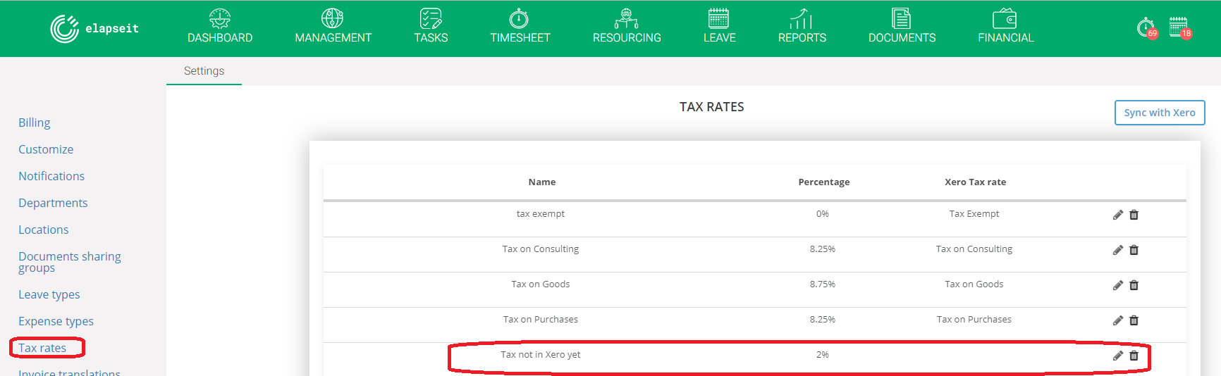 Tax rates in elapseit and Xero