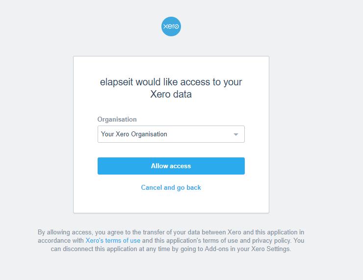 Access Xero from elapseit