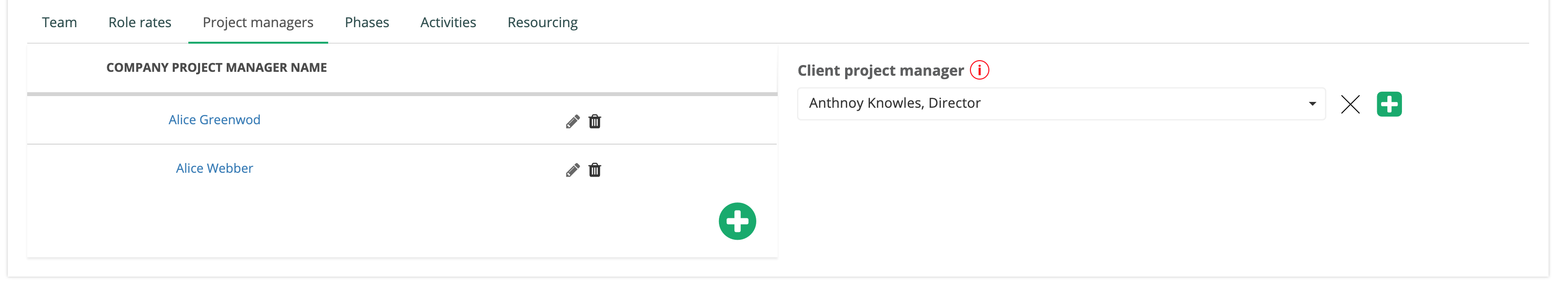 Adding the project manager and client PM