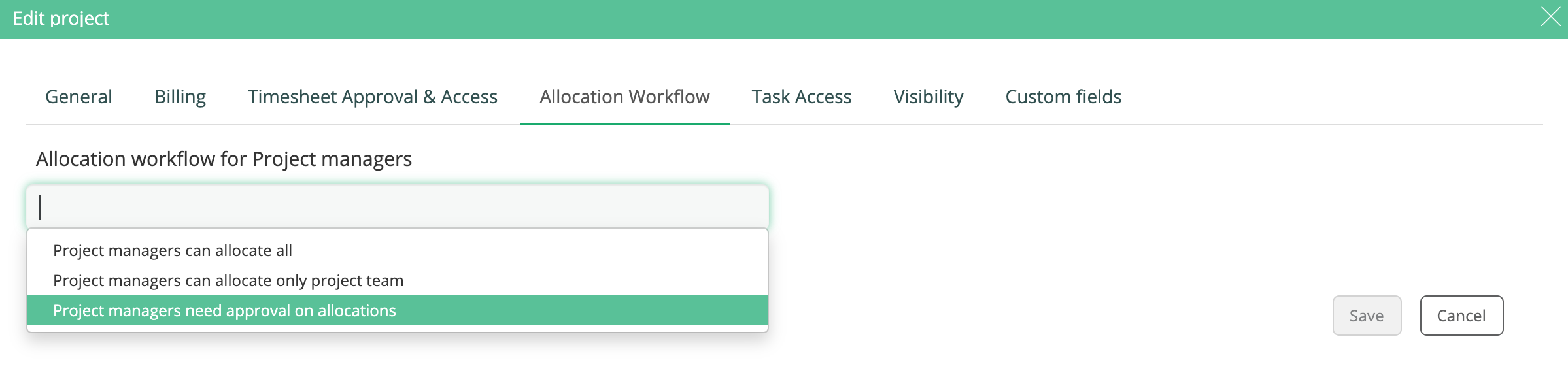 Allocation workflow for PM