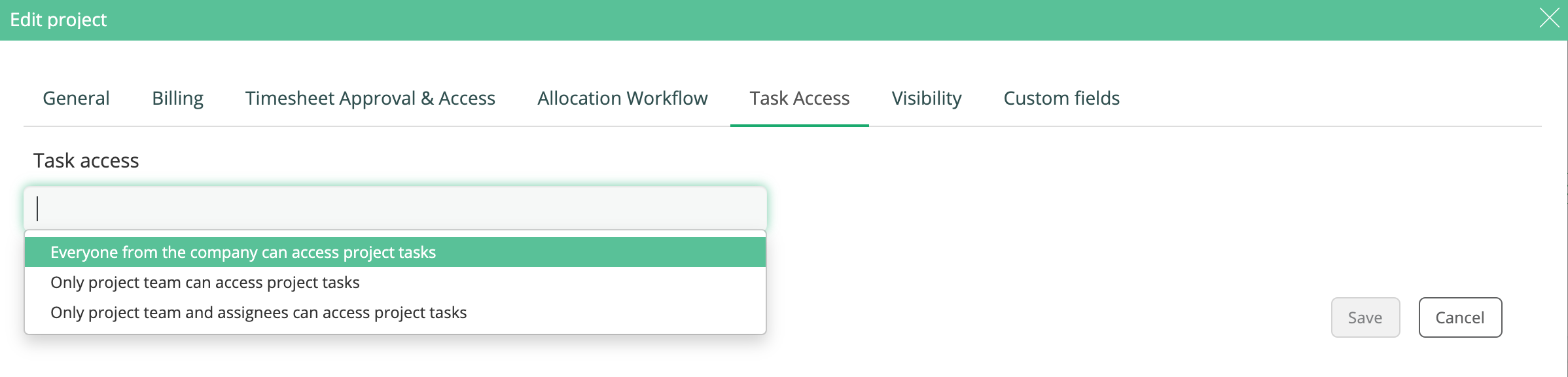 Settings who to have access to task on the project