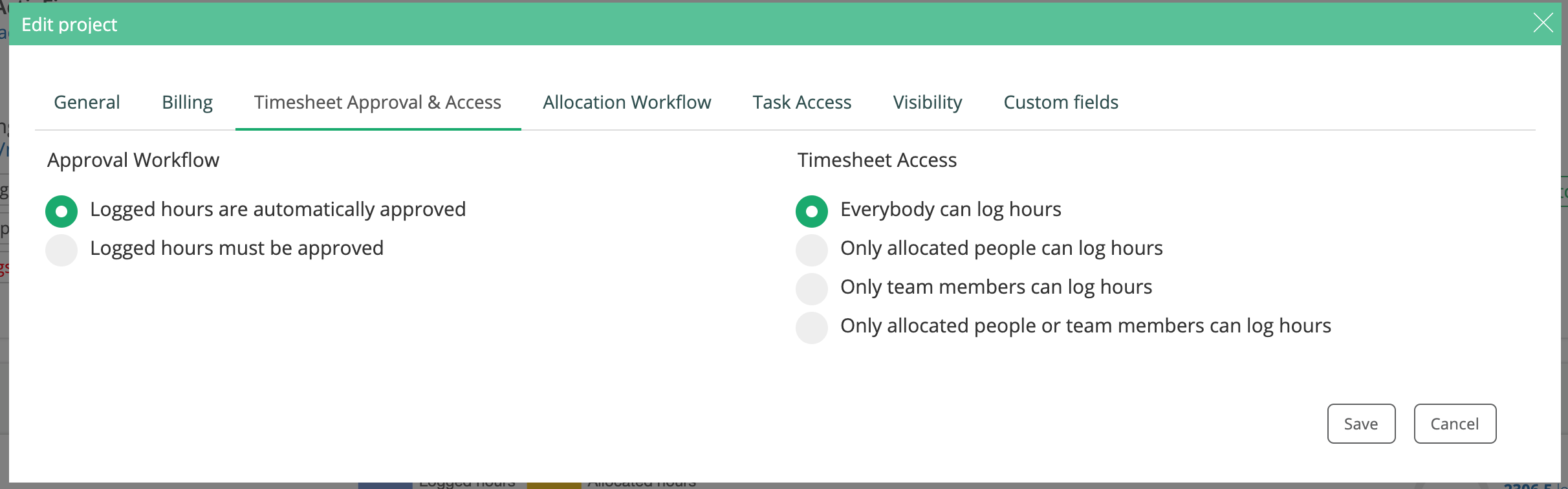 Timesheet approval and access