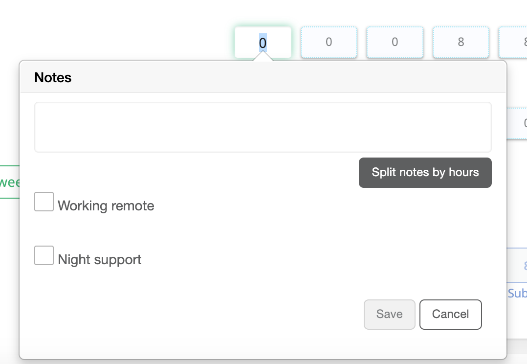 Add notes in timesheet
